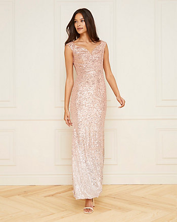 Sequin & Mesh Off-the-Shoulder Gown
