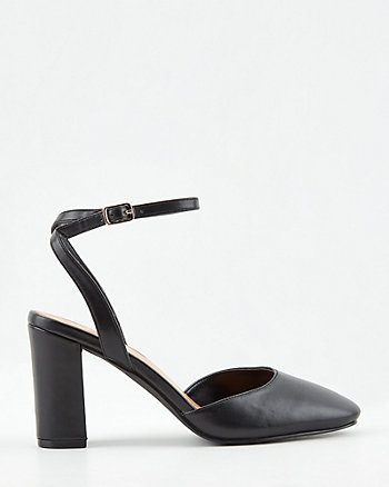 Faux Leather Ankle Strap Pump
