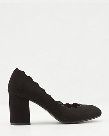 Scalloped Faux Suede Block Heel Pump
