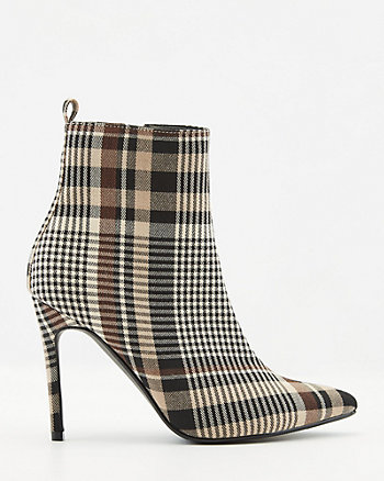 Check Print Pointy Toe Ankle Boot