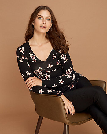 Floral Print Viscose Blend V-Neck Sweater