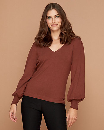 Viscose Blend V-Neck Puff Sleeve Sweater
