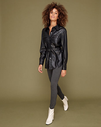 Belted Faux Leather Shirt Jacket