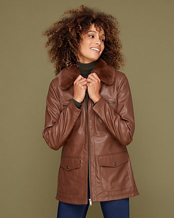 Faux Leather Utility Jacket