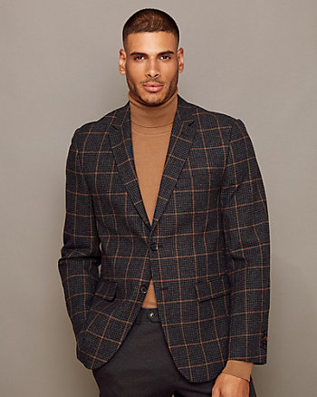 Check Print Wool Blend Notch Collar Blazer