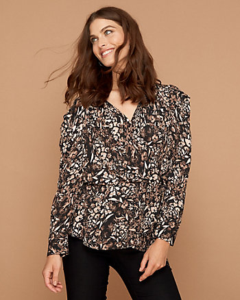 Floral Print Wrap-Like V-Neck Blouse
