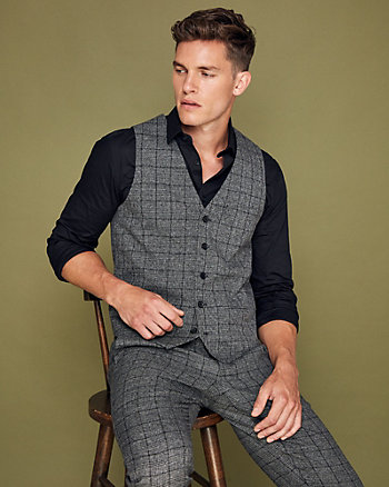 Windowpane Check City Fit Vest