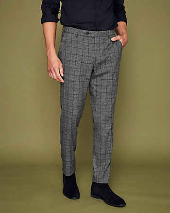 Windowpane Check Slim Leg Pant