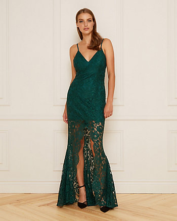 Lace V-Neck Illusion Gown