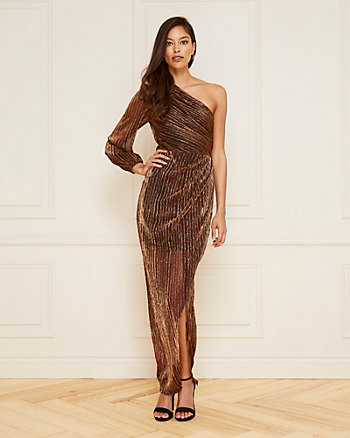 Metallic Knit One Shoulder Gown