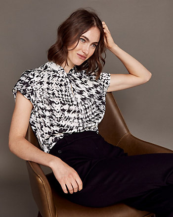 Abstract Print Satin Crew Neck Blouse