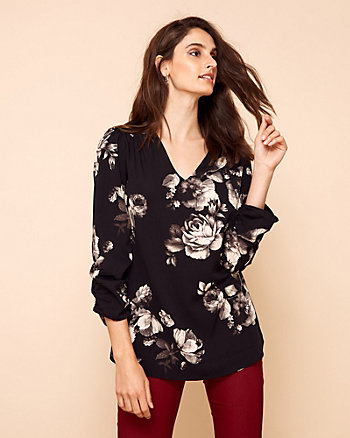 Floral Print V-Neck Tunic Blouse