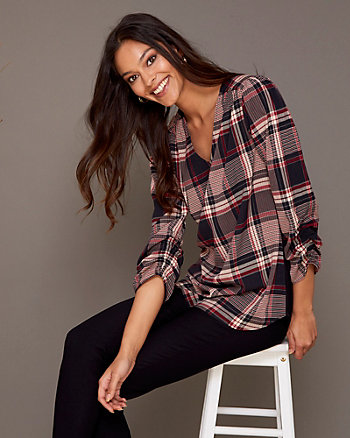 Check Print V-Neck Tunic Blouse