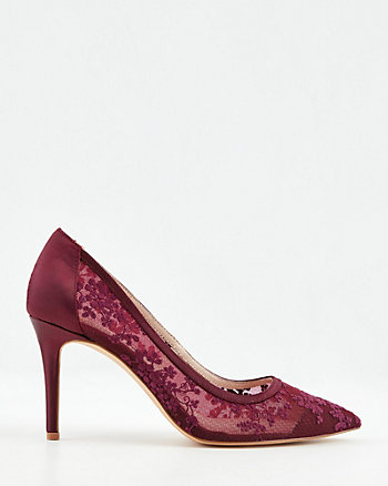 Lace & Satin Pointy Toe Pump