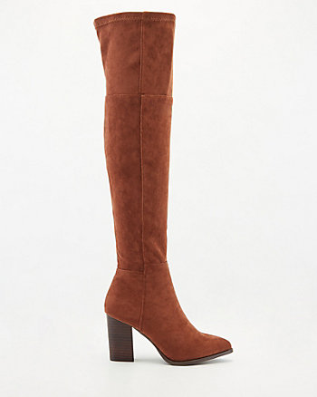 Stretch Faux Suede Thigh-High Boot