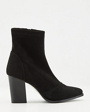 Stretch Faux Suede Ankle Sock Boot