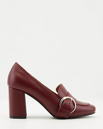 Faux Leather Square Toe Loafer Pump