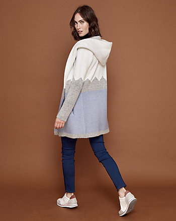 Hooded Colour Block Knit Sweater Coat