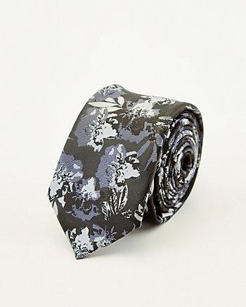 Cravate à motif floral en suédine