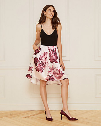 Floral Print Matte Satin V-Neck Dress
