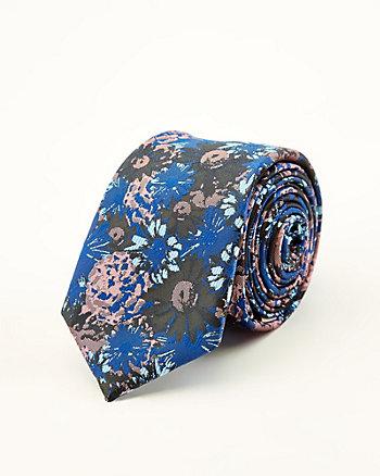 Floral Print Faux Suede Tie