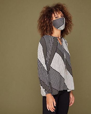 Paisley Print Cutout Tie Neck Blouse