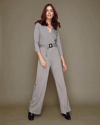 Check Print Jacquard Knit Wide Leg Jumpsuit