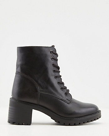 Leather Block Heel Lace-Up Boot