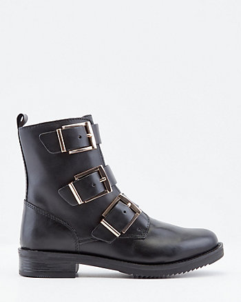 Leather Buckle Combat Boot
