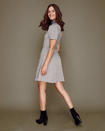 Jacquard Double Knit Mock Neck Dress