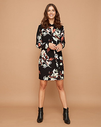 Floral Print Knit Keyhole Neck Dress