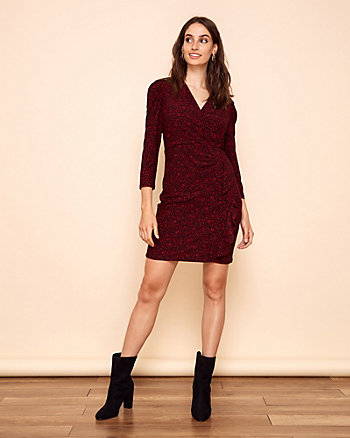 Floral Print Knit V-Neck Dress
