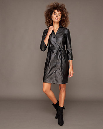 Belted Faux Leather Dress