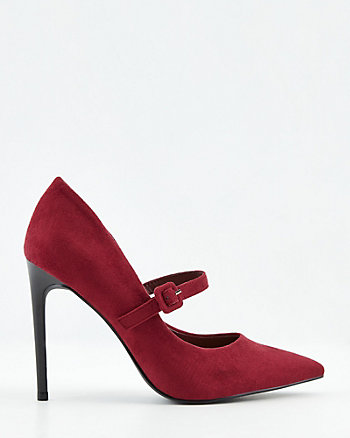Faux Suede Pointy Toe Mary Jane Pump