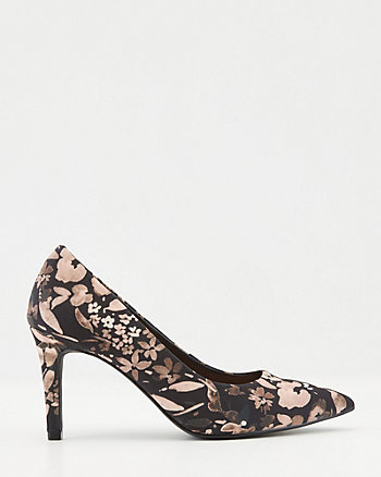 Floral Print Mesh Pointy Toe Pump