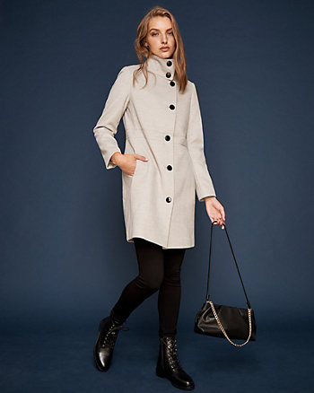 Cashmere-Like Asymmetrical Funnel Neck Coat