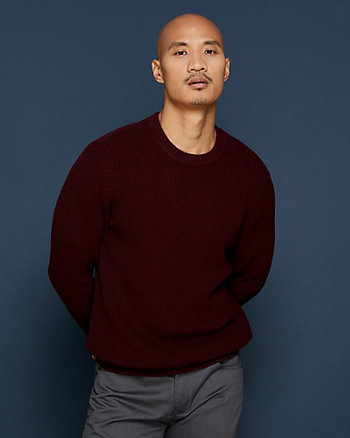 Rib Cotton Crew Neck Sweater