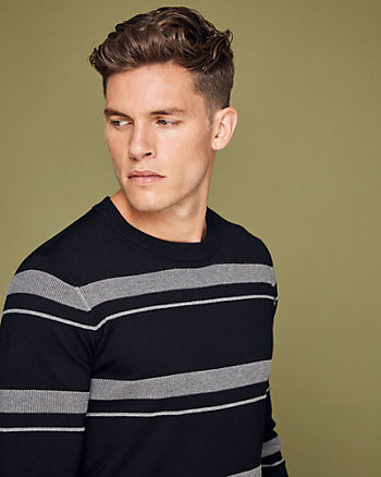Striped Viscose Blend Crew Neck Sweater