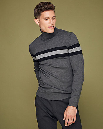 Stripe Viscose Blend Turtleneck Sweater