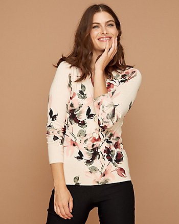Floral Print Viscose Blend Henley Sweater