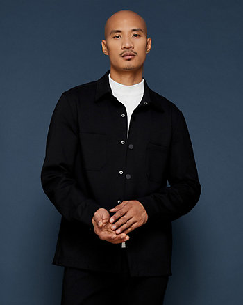 Ponte Knit Button-Front Jacket