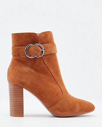 Suede Block Heel Ankle Boot