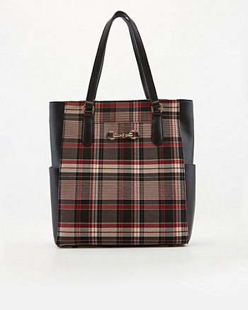 Check Print Faux Leather Tote Bag