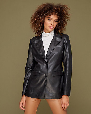 Faux Leather Notch Collar Jacket