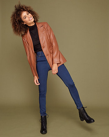 Faux Leather Notch Collar Blazer Jacket