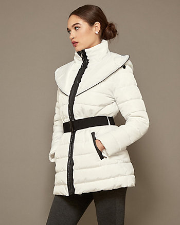Hooded Funnel Neck Puffer Coat