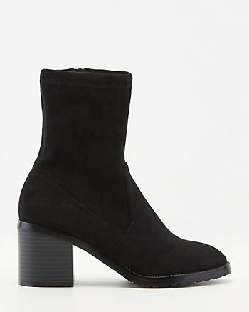 Stretch Faux Suede Block Heel Boot