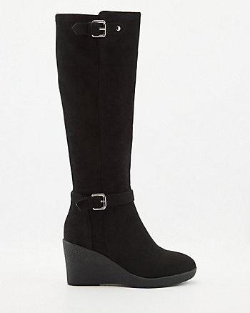 Faux Suede Knee-High Wedge Boot