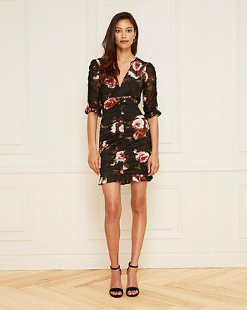 Floral Print Mesh Deep V-Neck Dress