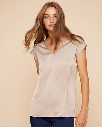 Satin & Knit V-Neck Top